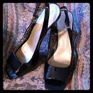 Tahari navy blue robin peep toe heels